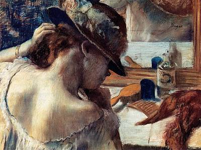 Hamburger Painting - In Front Of The Mirror by Edgar Degas