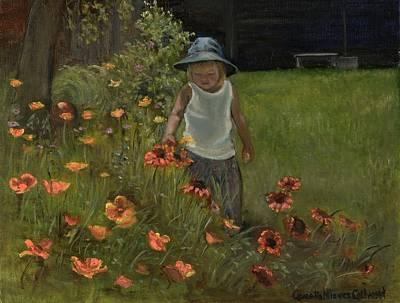 Little Girls In Garden Painting - In Grandma's Garden by Aurelia Nieves-Callwood