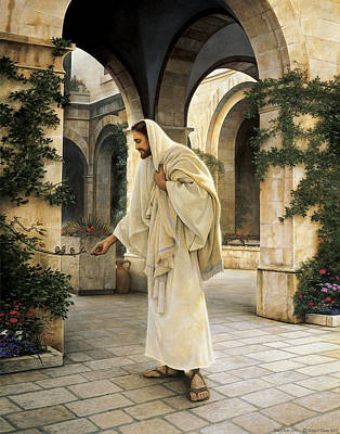 In His Constant Care Art Print by Greg Olsen