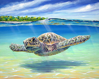 Ocean Turtle Painting - In The Shallows by Patrick Parker