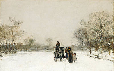Horse Drawn Carriage Painting - In The Snow by Luigi Loir