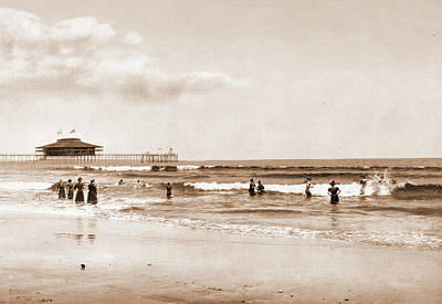 Maine Beach Drawing - In The Surf At Old Orchard, Maine, Beaches by Litz Collection