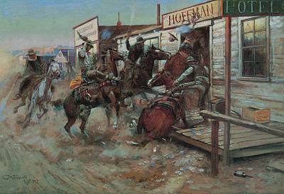 Fine Art In America Painting - In Without Knocking by Charles M Russell