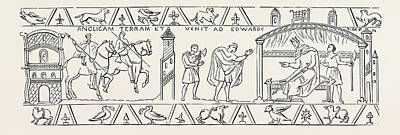 Tapestries - Textiles Drawing - Incidents Copied From The Bayeux Tapestry by English School