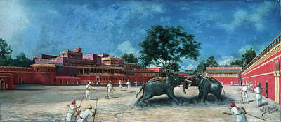 Fine Art India Painting - India Elephant Fight by Granger