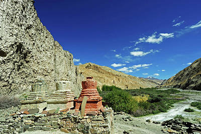 Tibetan Buddhism Photograph - India, Ladakh, Markha Valley, White by Anthony Asael