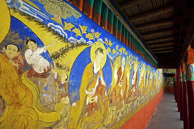 Painter Photograph - India, Ladakh, Thiksey, Colorful Wall by Anthony Asael