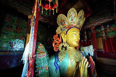 India, Ladakh, Thiksey, Golden Maitreya Art Print by Anthony Asael