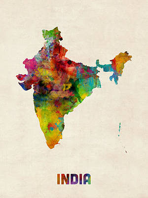 Digital Art - India Watercolor Map by Michael Tompsett