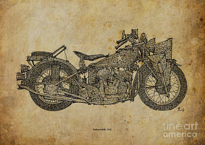Bike Drawing - Indian 640b 1942 by Pablo Franchi