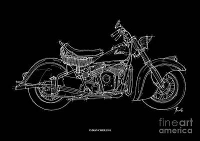 White On Black Drawing - Indian Chief 1951 by Pablo Franchi