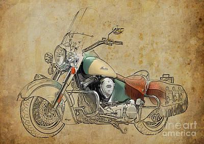 Best Sellers - Transportation Digital Art - Indian Chief Vintage 2012 by Drawspots Illustrations