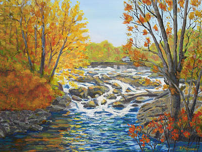 Philadelphia Scene Painting - Indian River Rapids Philadelphia Ny by Robert P Hedden
