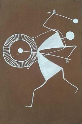 Tarpa Dance Painting - Indian Tribal Drummer by Kalpeshkumar Patel