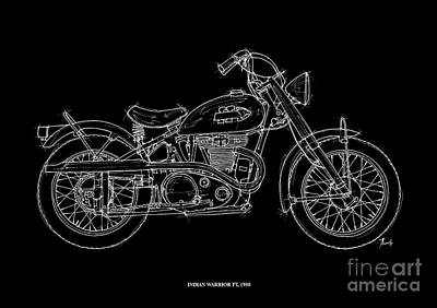 White On Black Drawing - Indian Warrior Tt 1950 by Pablo Franchi