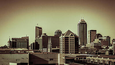 Photograph - Indianapolis Skyline - Black And White by Ron Pate