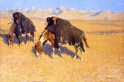 Painting - Indians Simulating Buffalo by Pg Reproductions