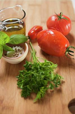 Ingredients For Tomato Sauce: Tomatoes, Herbs, Olive Oil, Spices Art Print