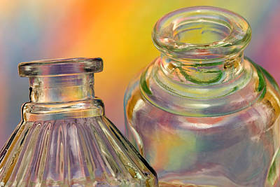 Ink Bottles On Color Print by Carol Leigh