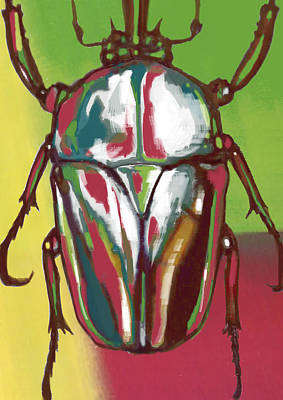 Beetle Drawing - Insect Stylised Pop Art Drawing Potrait Poser by Kim Wang