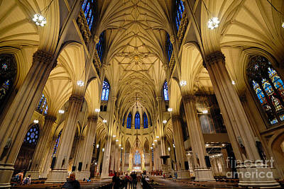 Inside St Patricks Cathedral New York City Print by Amy Cicconi