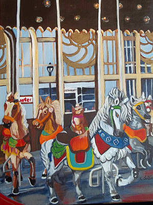 Inside The Carousel House Art Print by Norma Tolliver