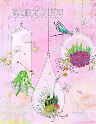 Blog Painting - Inspirational Dragonfly Terrarium Original Painting Succulent Art By Megan Duncanson by Megan Duncanson