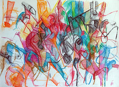 Conceptual Abstraction Drawing - Interchange Between Ambition And Restraint 3 by David Baruch Wolk