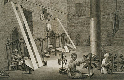 Spinning Drawing - Interior Of A Weavers Workshop by Nicolas Jacques Conte