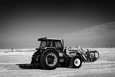 international 5140 tractor with front end loader on frozen field Forget Saskatchewan Canada Print by Joe Fox