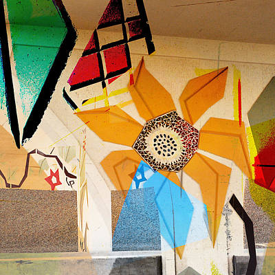 Sculptural Collage Photograph - Interstate 10- Exit 260- I10/i19 Junction- Square Remix by Arthur BRADford Klemmer