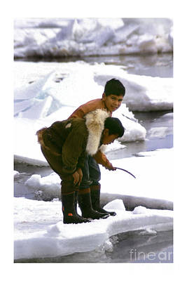 Photograph - Inuit Boys Ice Fishing Barrow Alaska July 1969 by California Views Archives Mr Pat Hathaway Archives