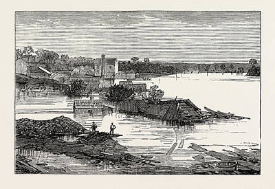 Clarksville Drawing - Inundations In The United States Of America Cumberland River by American School