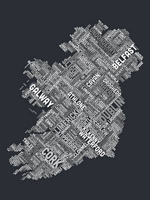 Ireland Eire City Text Map Art Print by Michael Tompsett