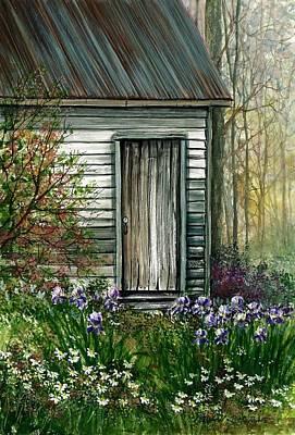 Iris By Barn Art Print