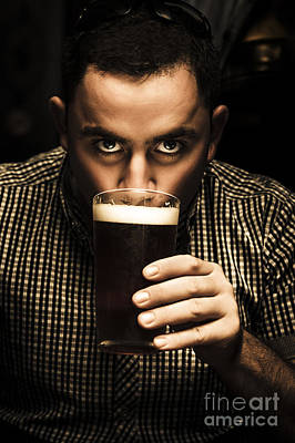 Irish Man Drinking Beer On St Patricks Day Art Print