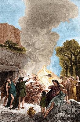 Cremation Photograph - Iron Age, Funeral Ceremony by Science Source