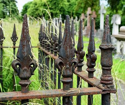 Iron Railing In Urban Cemetery Print by Cordelia Molloy