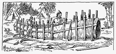 Canoe Drawing - Iroquois Birchbark Canoe by Granger