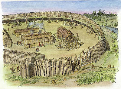 Huron Indian Drawing - Iroquois Village, C1500 by Granger
