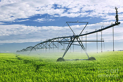 Irrigation Equipment On Farm Field Art Print