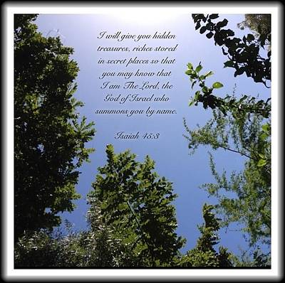 Photograph - Isaiah 45 3 by Scripture Pictures
