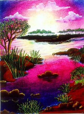 Drawing - Island Sunset by Karen Buford