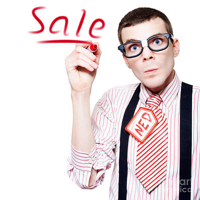 Doubting Photograph - Isolated Funny Nerd Advertising A Store Sale by Jorgo Photography - Wall Art Gallery