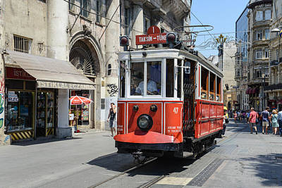 Photograph - Istanbul Turkey Red Trolley by Brandon Bourdages