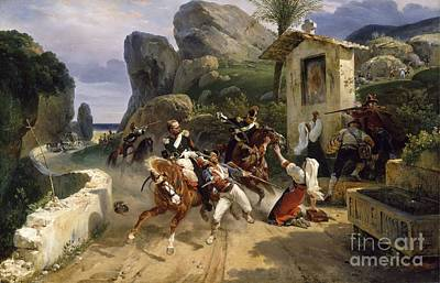 Papal Painting - Italian Brigands Surprised By Papal Troops by Celestial Images