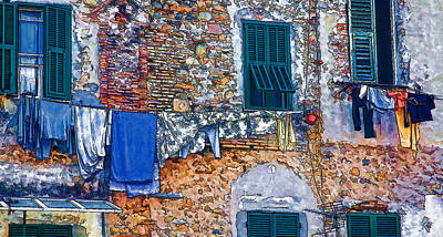 Photograph - Italian Clothes Dryer - Digital Painting by Allen Beatty