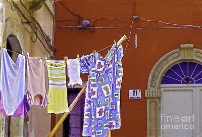 Digital Art - Italian Laundry by Debra Chmelina
