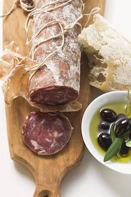 Italian Salami, Olives In Olive Oil, White Bread Art Print