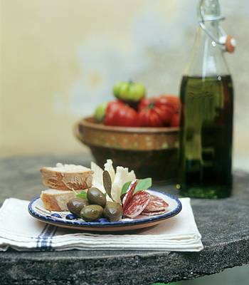 Italian Snack With Hard Cured Sausage, Olives And Cheese Art Print